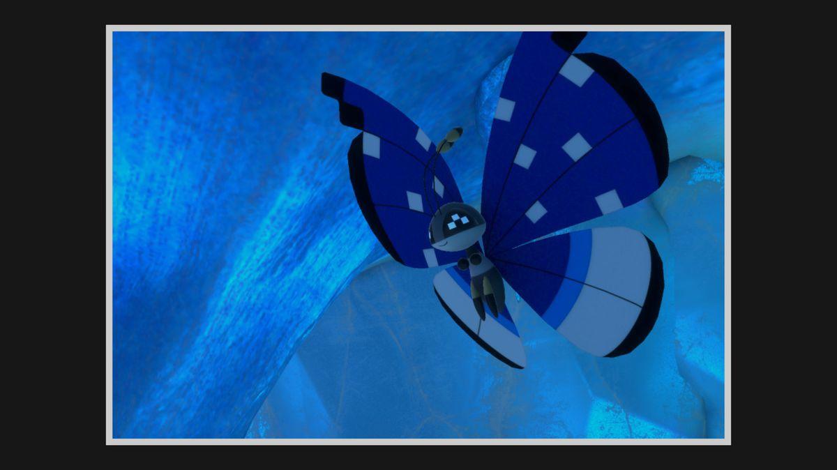 Polar Pattern Vivillon flies in an icy cave