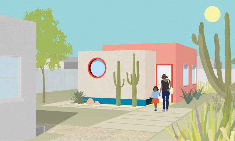A colorful rendering of a Southwestern style backyard cottage with a woman and a child walking through a garden from the door.