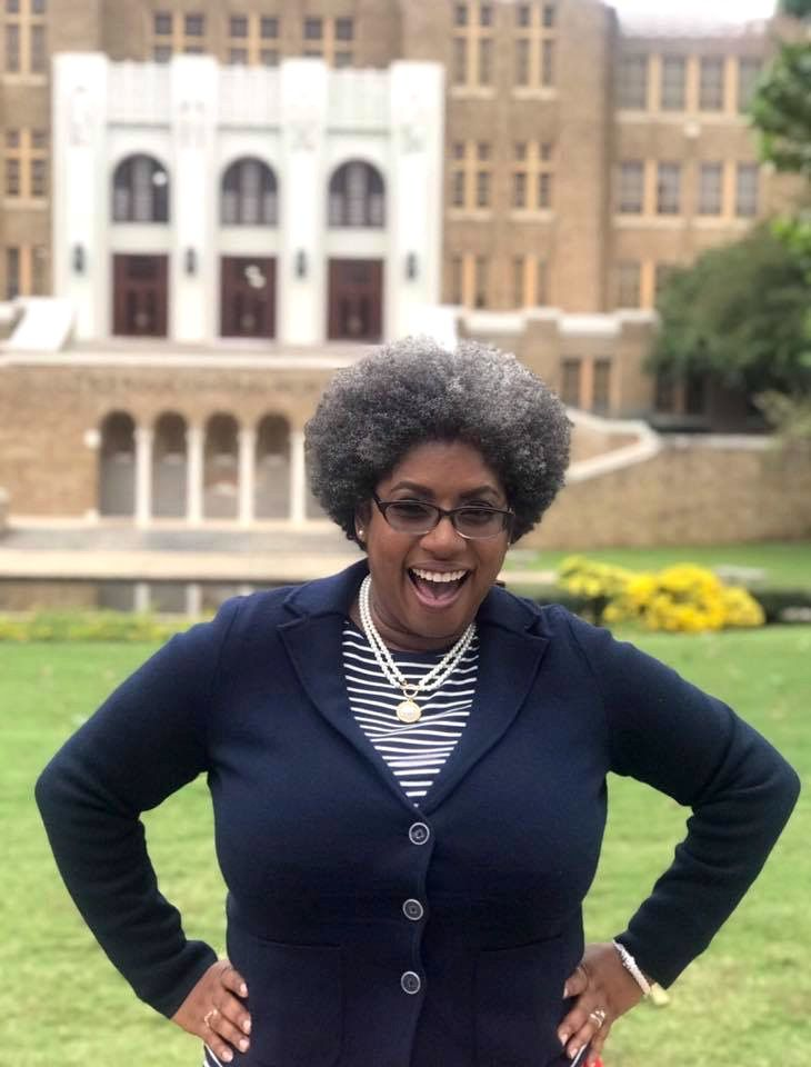 Stacey McAdoo outside Little Rock Central High School