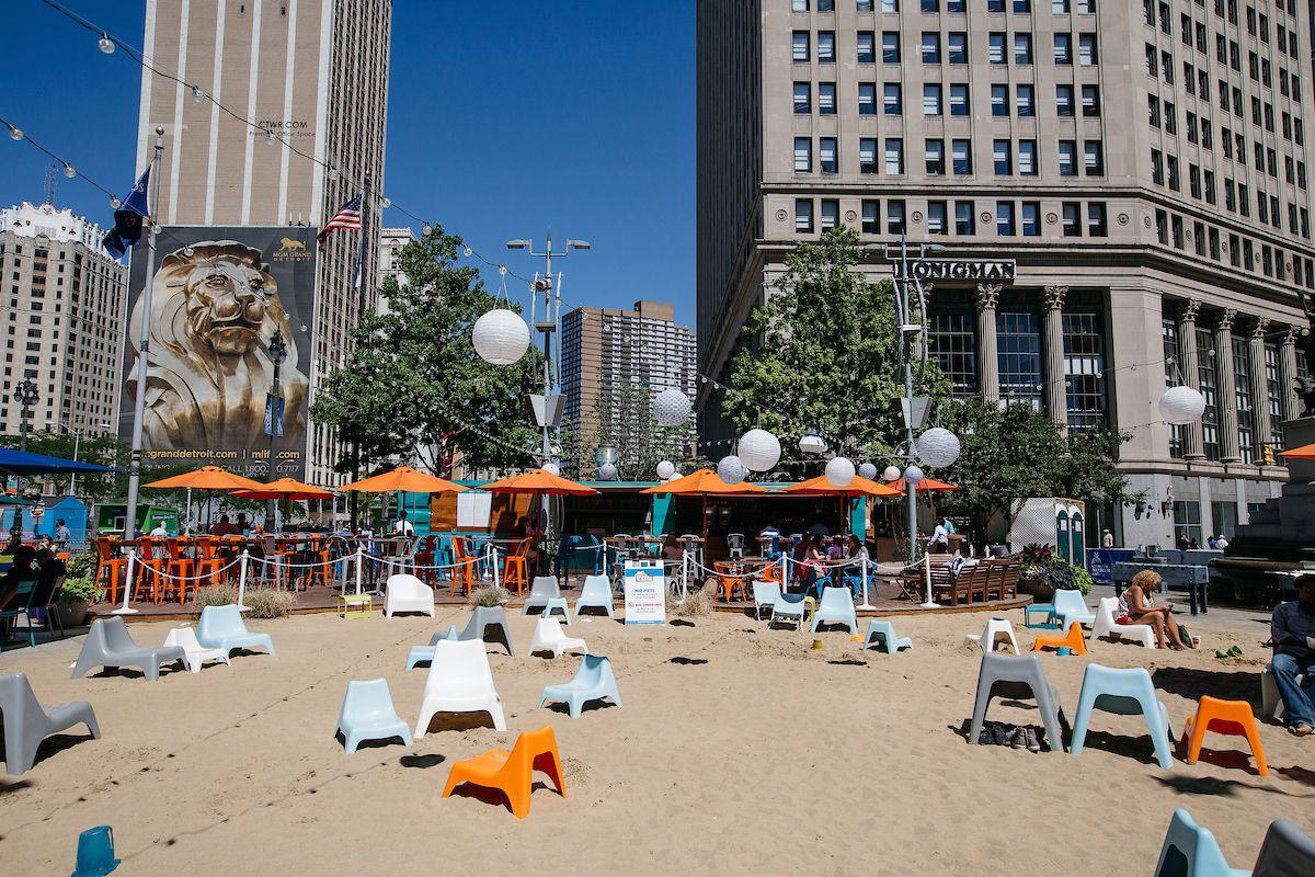 The beach at Campus Martius is getting revamped - Curbed Detroit