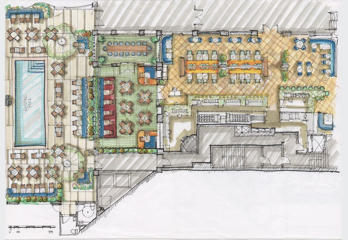 A hand-colored rendering from above of a poolside dining area, with bar.