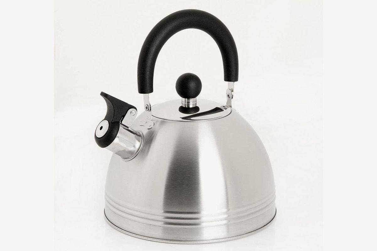 A stainless steel tea kettle