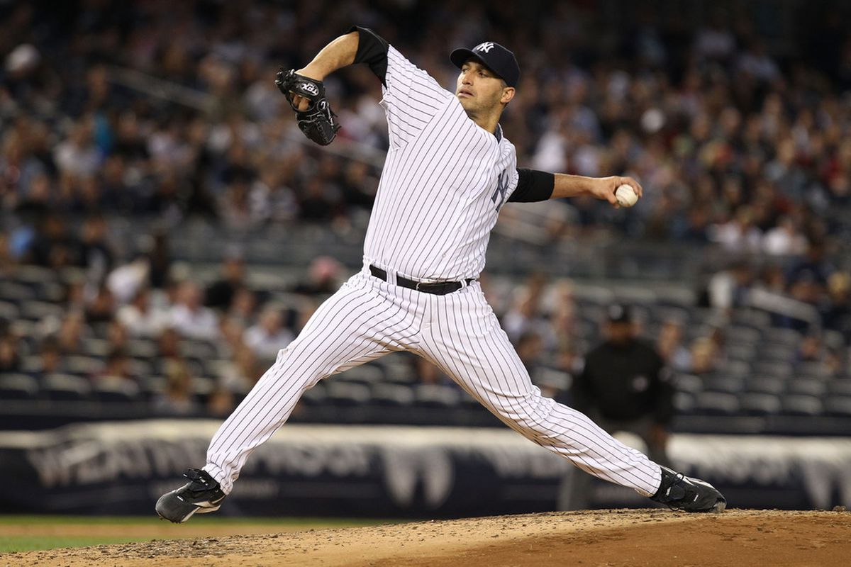 NEW YORK, NY - MAY 18:  Andy Pettitte #46 of the New York Yankees pitches agianst the Cincinnati Redsat Yankee Stadium on May 18, 2012 in the Bronx borough of New York City.  (Photo by Nick Laham/Getty Images)