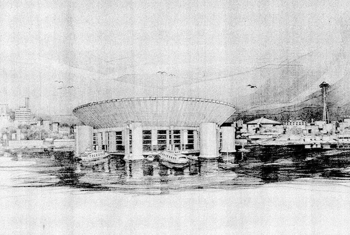 A black-and-white pencil sketch shows a rounded building protruding into a bay with two ferries parked outside and skyscrapers in the background.