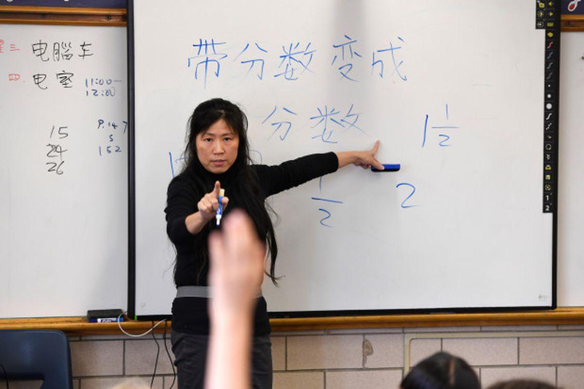 Chinese teacher Fay Tsai teaches her fourth grade class at Denver Language School.