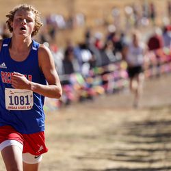 Richard Crane of Richfield takes second place in the 3A boys state cross-country championship race at Soldier Hollow in Midway on Thursday, Oct. 22, 2020.