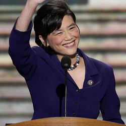 Rep. Judy Chu of California waves to the delegates before addressing the Democratic National Convention in Charlotte, N.C., on Wednesday, Sept. 5, 2012.