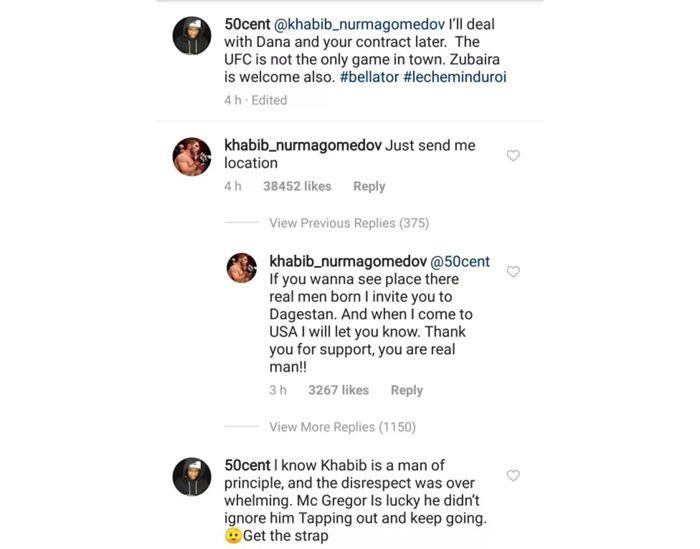 Khabib responds to 50 Cent's 'dead serious' $2 million