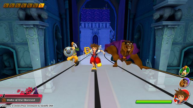 Goofy, Sora, and the Beast run through a musical notation level together in Kingdom Hearts: Melody of Memory