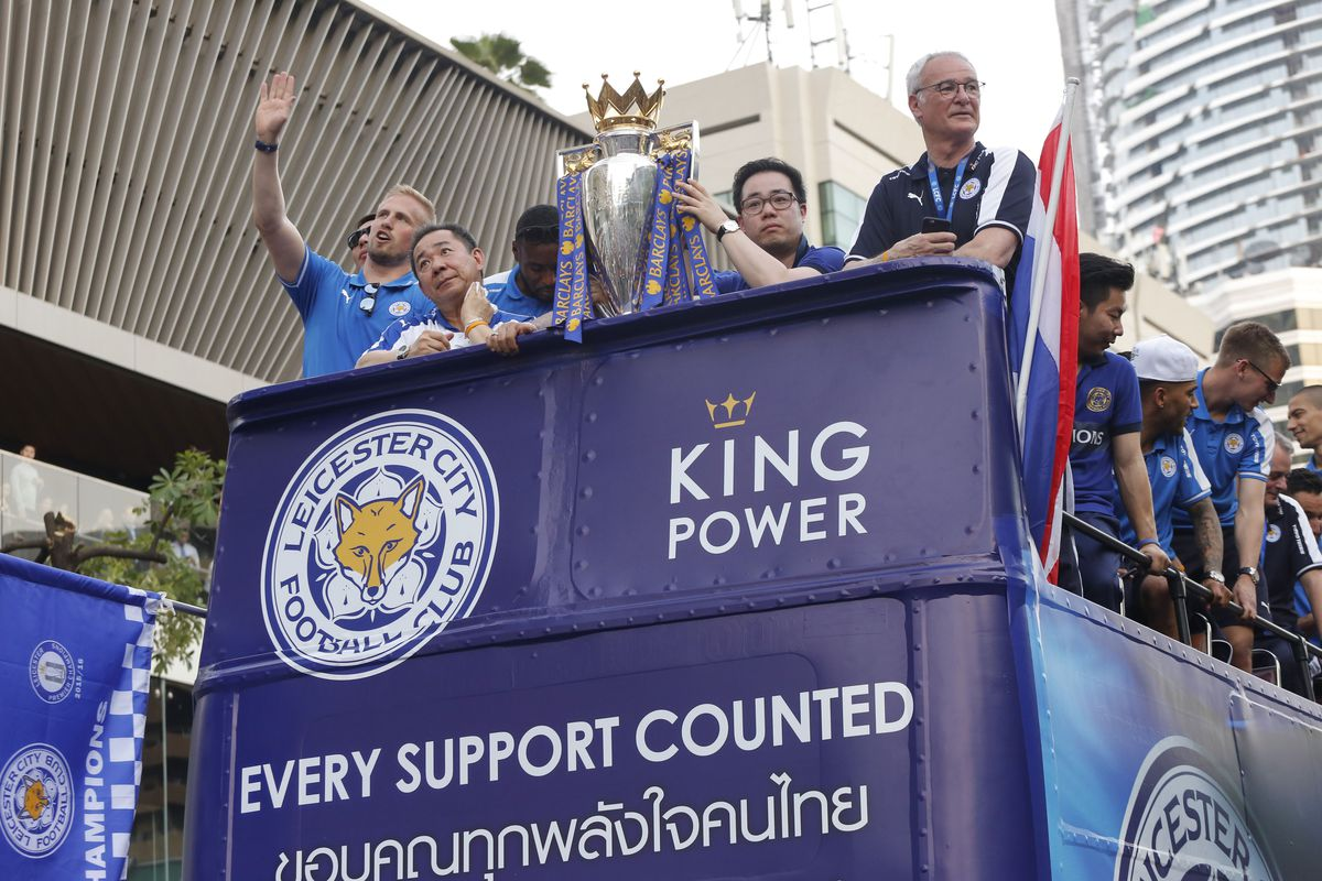 The celebration of Leicester City league trophy in Bangkok