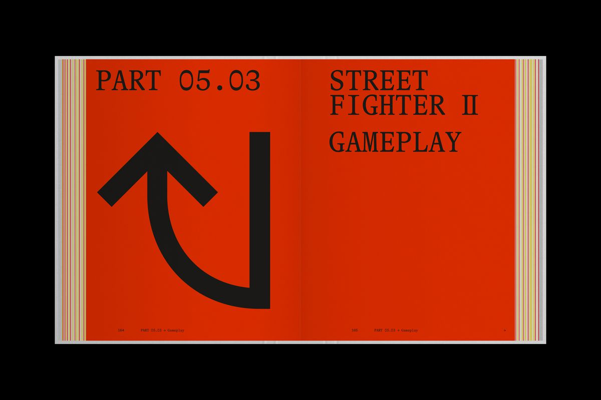 An open book shows a two-page layout from Read-Only Memory's Street Fighter history book