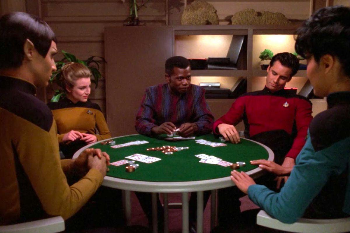 "Low-ranking Starfleet officers player poker in the episode ""Lower Decks"" from Star Trek: The Next Generation."