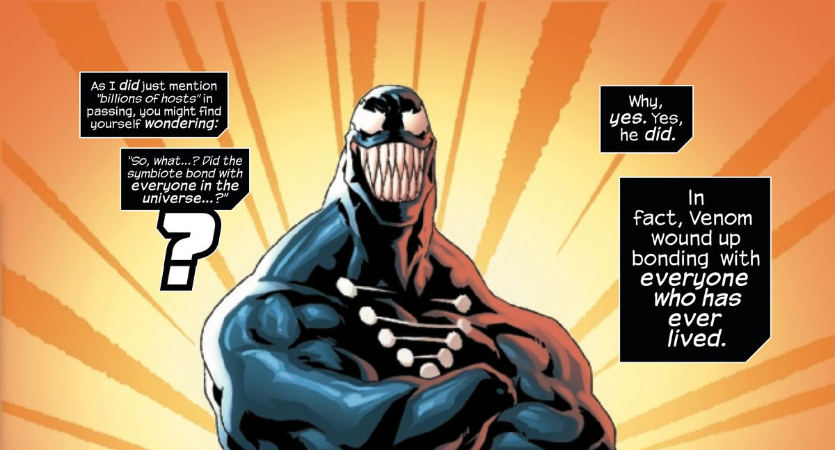 """Venom stands proudly with arms crossed, as text boxes explain """"Did the symbiote bond with everyone in the universe? Why, yes. Yes, he did,"""" in Venom: The End, Marvel Comics (2020)."""