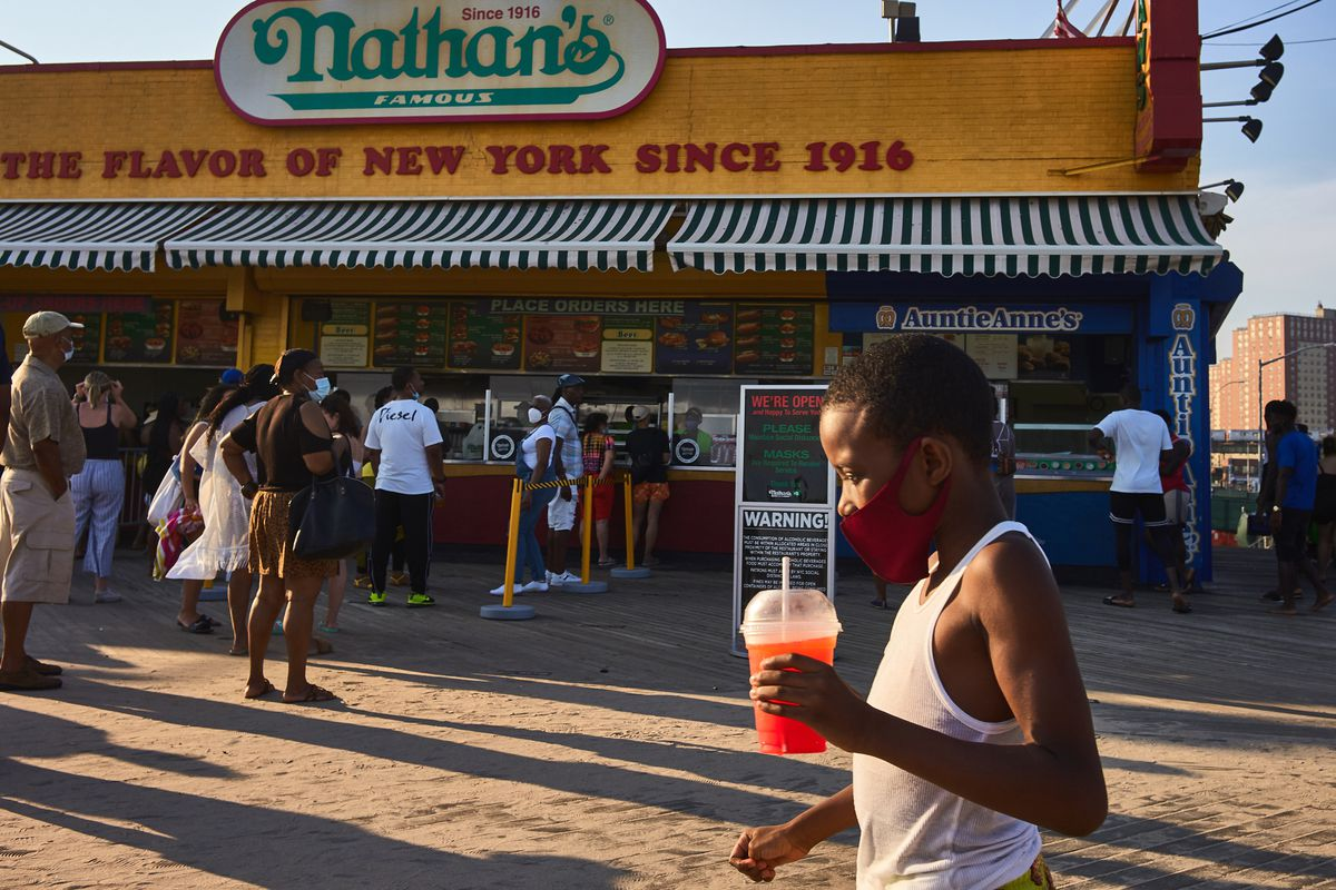Despite not having spectators at the famous Nathan's Hot Dog Eating Contest this year due to COVID-19 restrictions, casual hot dog eaters were able to have their own turn on the Coney Island boardwalk on July 19, 2020.