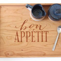 """Bon Appetit Wooden Serving Tray by Richwood Creations, <a href=""""http://www.brika.com/bon-appetit-wooden-serving-tray"""">$62</a>"""
