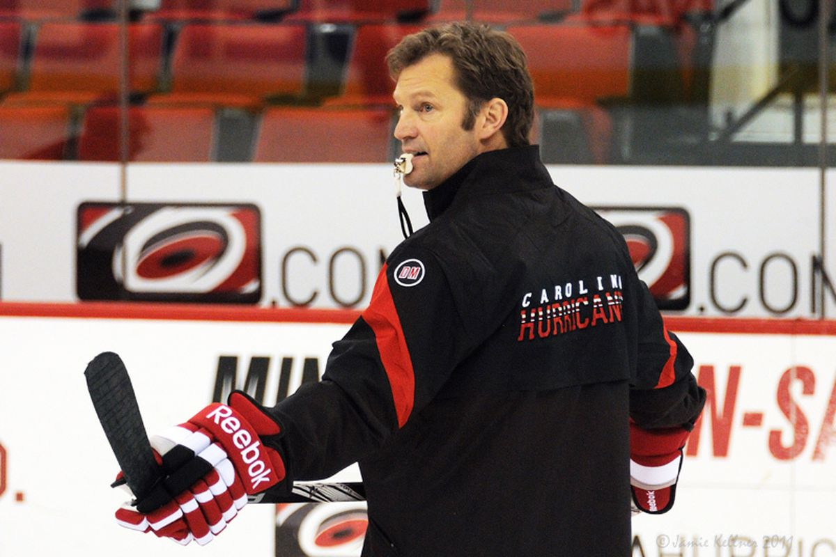 """Kirk Muller at his first pre-game skate as the new head coach for the Carolina Hurricanes. In Raleigh this morning, via <a href=""""http://farm7.staticflickr.com/6094/6426202769_36e49807af_b.jpg"""">Jamie Kellner</a>"""