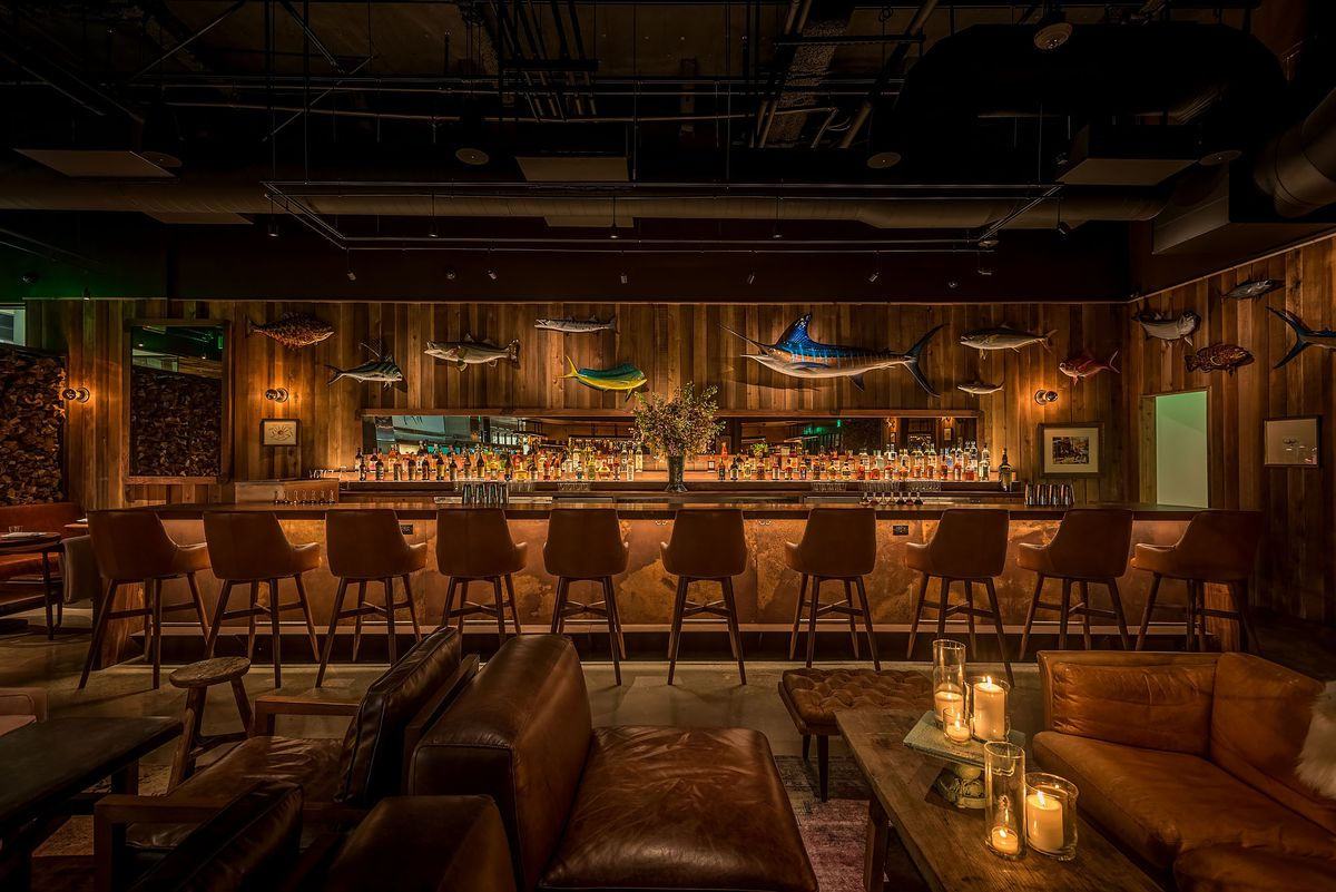 Angler Los Angeles bar wooden dim lighting.