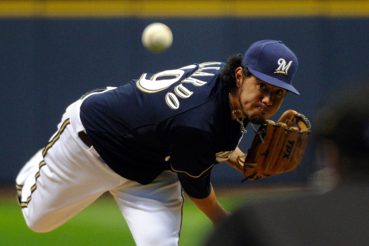 Apr 17, 2012; Milwaukee, WI, USA;  Milwaukee Brewers pitcher Yovani Gallardo (49) pitches against the Los Angeles Dodgers in the 1st inning at Miller Park. Mandatory Credit: Benny Sieu-US PRESSWIRE