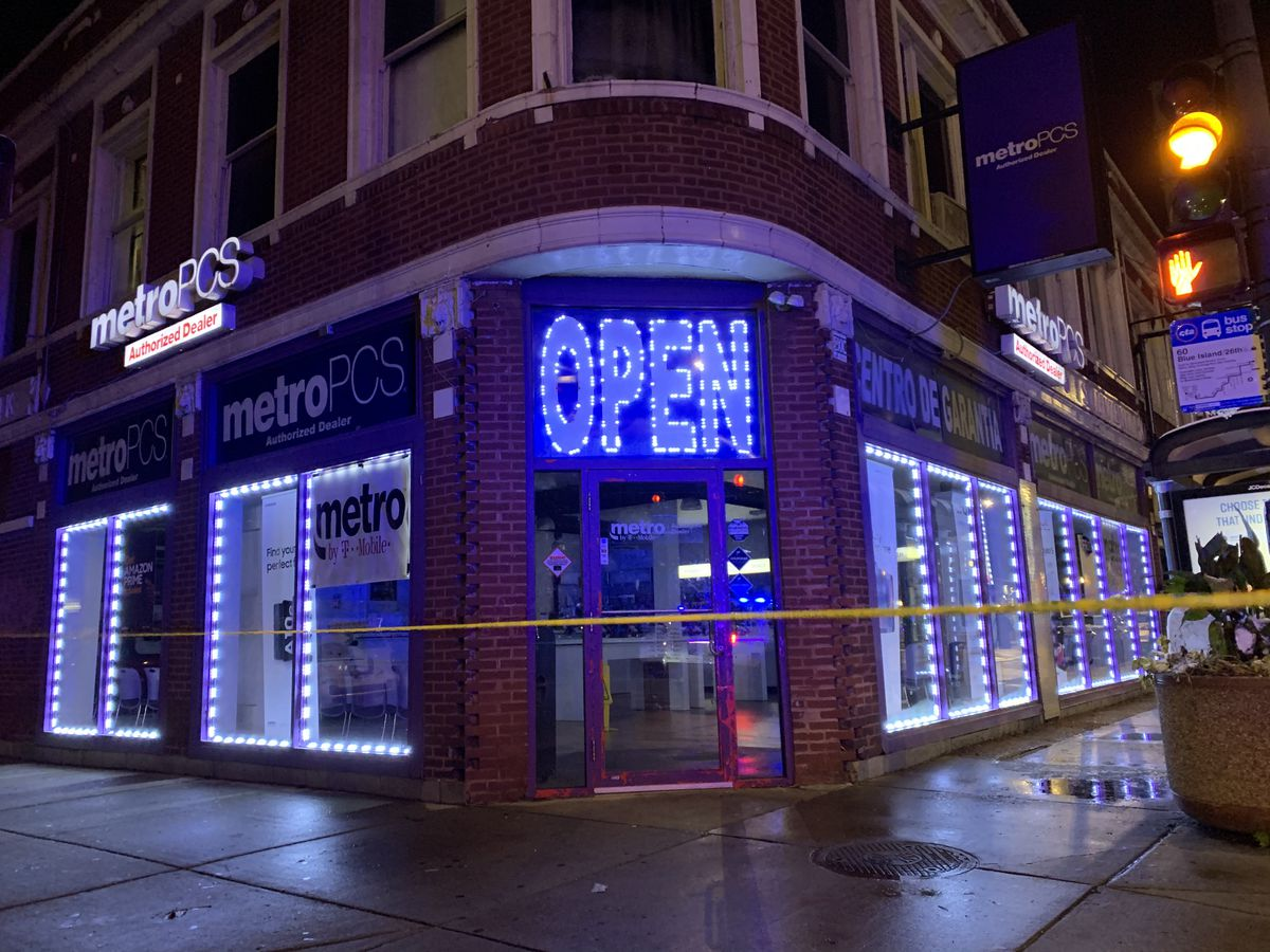 A witness at the scene said a 7-year-old girl shot Thursday while trick or treating in Lawndale was brought to this Metro PCS store at 26th Street and Lawndale Avenue until paramedics responded.
