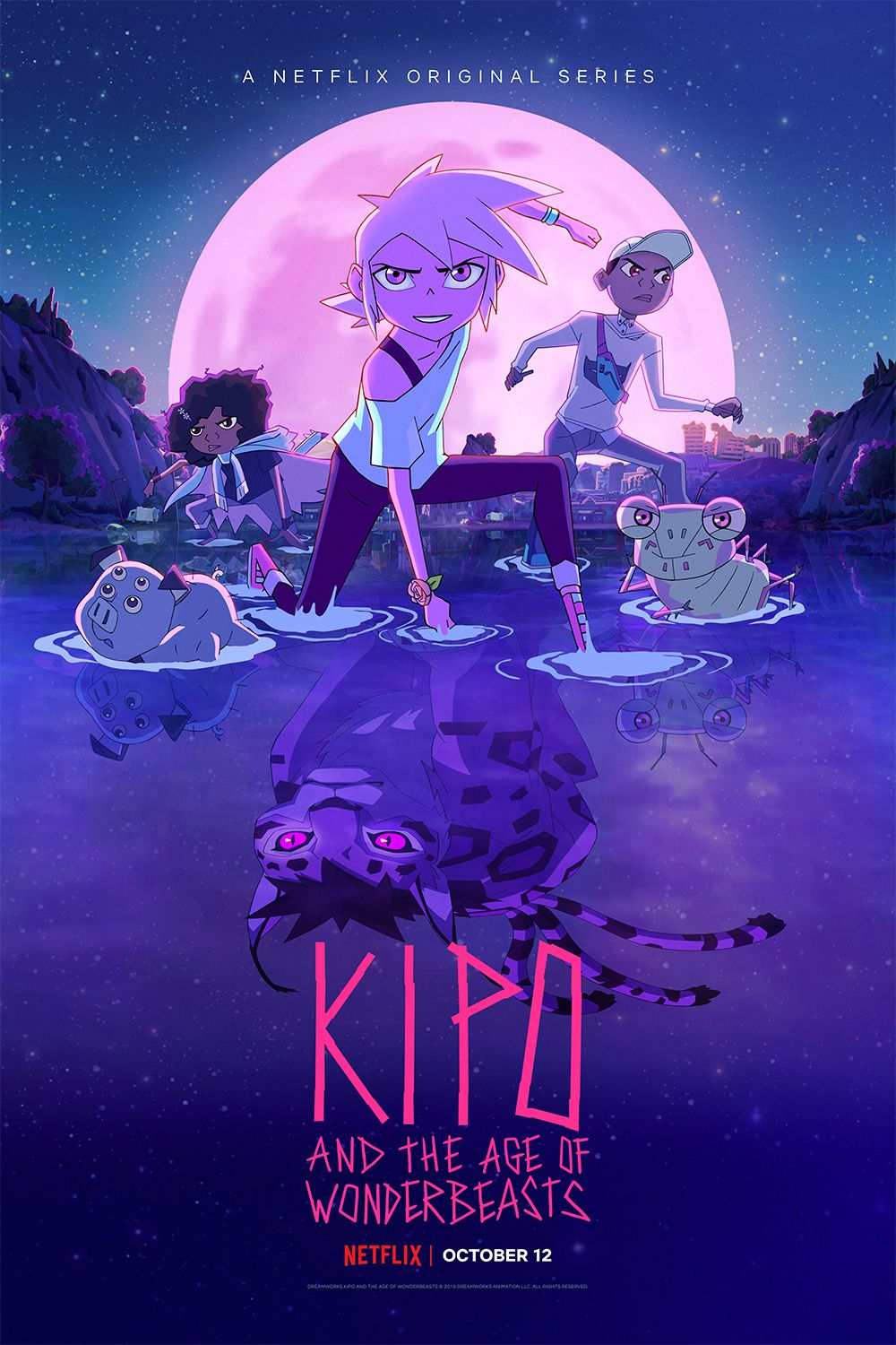 season 3 poster of kipo and the age of wonderbeasts, featuring kipo front and center, a jaguar reflection in the water