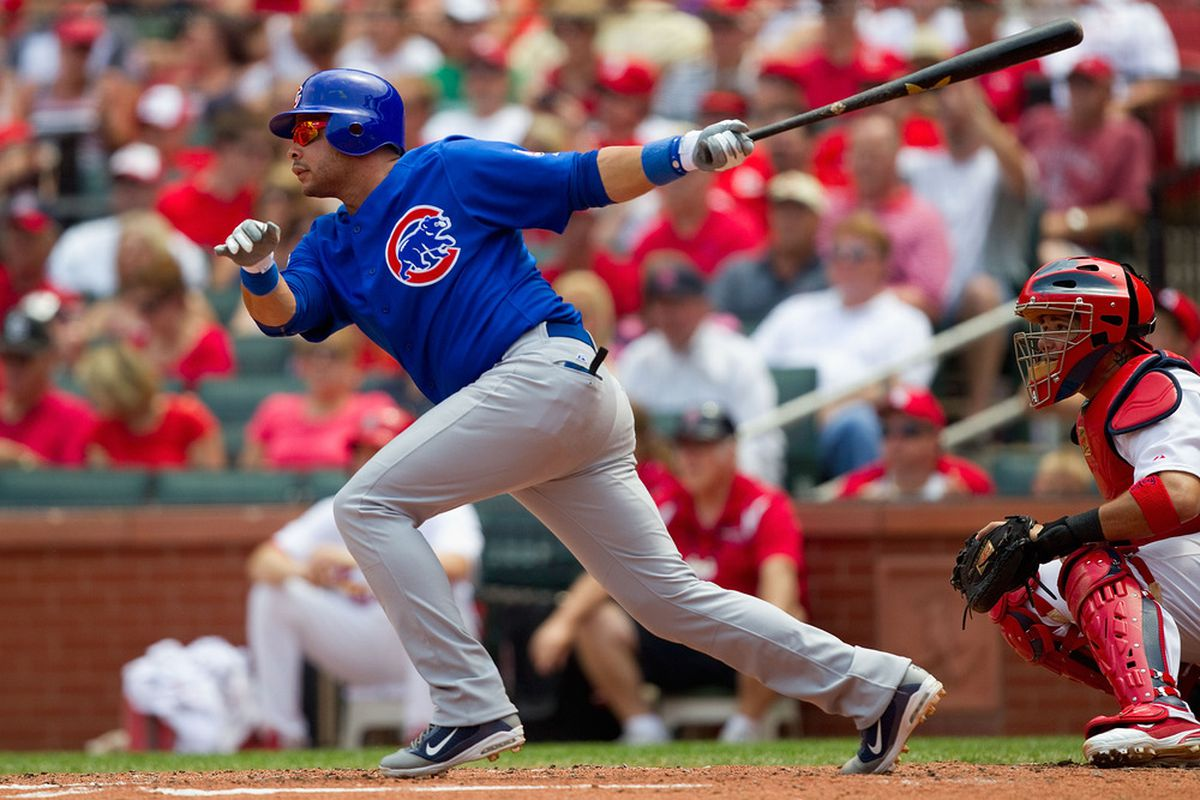Aramis Ramirez of the Chicago Cubs hits a two-RBI double against the St. Louis Cardinals at Busch Stadium on June 5, 2011 in St. Louis, Missouri.  The Cardinals beat the Cubs 3-2 in 10 innings.  (Photo by Dilip Vishwanat/Getty Images)