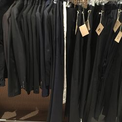 Black tux or navy tailored trousers, $100