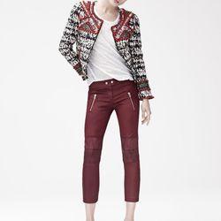 Jacket ($399), T-Shirt ($39.95), Pants ($129), Suede Pumps ($199)