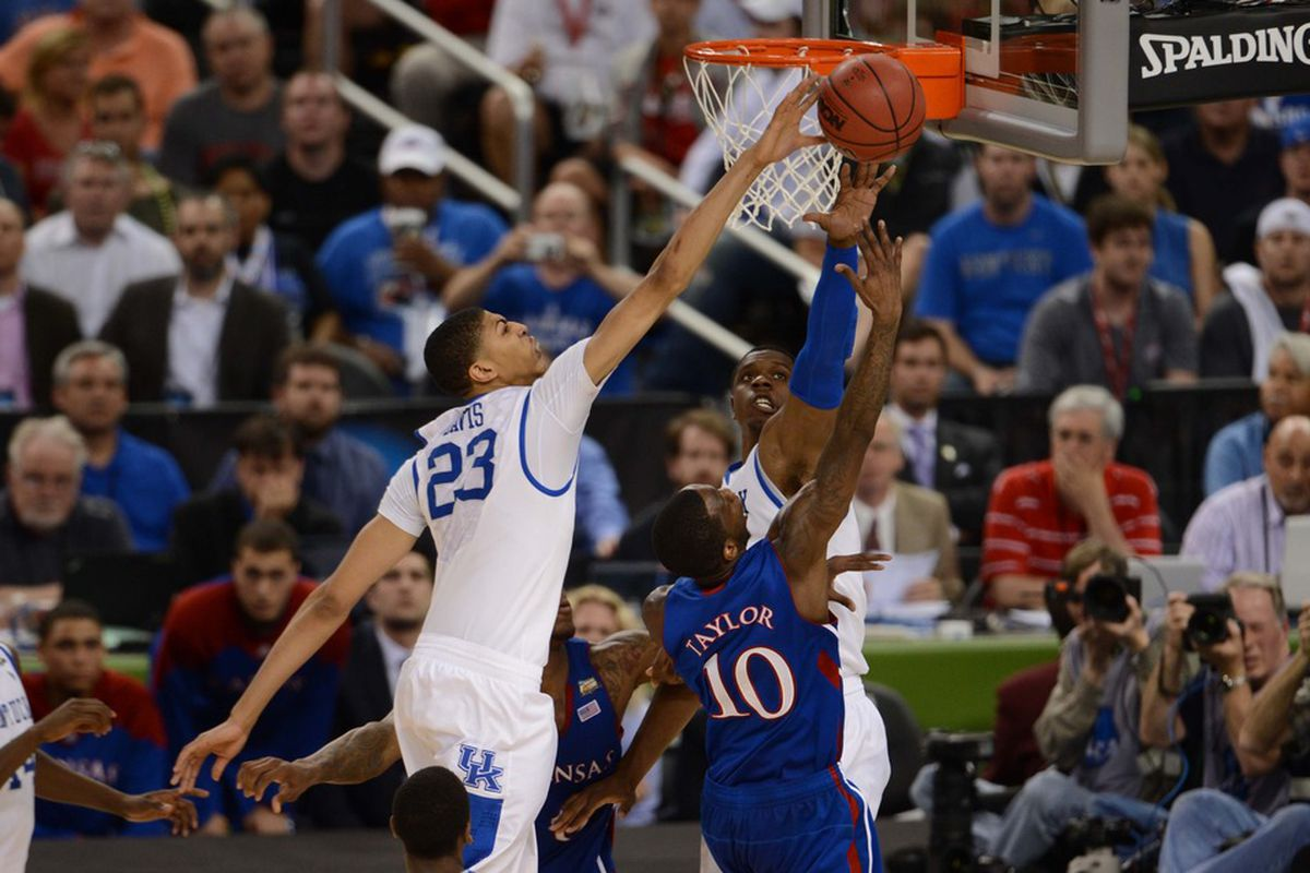 Anthony Davis stuffs Tyshawn Taylor in the national title game.