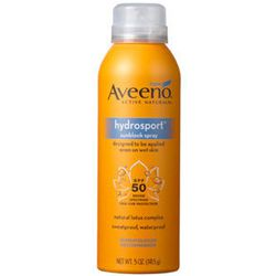 """<strong>Aveeno</strong> is my usual go-to drugstore brand, and its <a href=""""http://www.aveeno.com/product/aveeno-+hydrosport-+wet+skin+spray+sunscreen+with+broad+spectrum+spf+30.do"""">Hydrosport Wet Skin Spray Sunscreen with Broad Spectrum SPF 30</a> doesn'"""