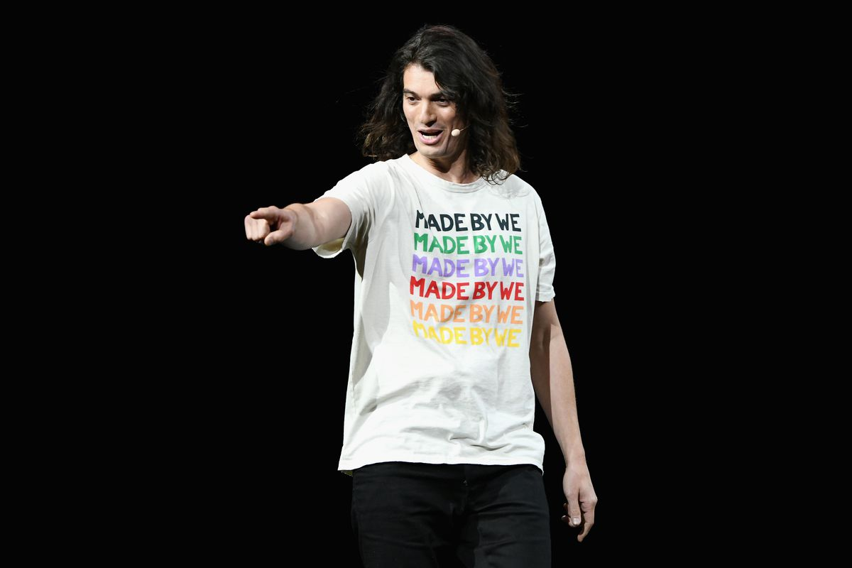 WeWork CEO Adam Neumann points to the audience while onstage during WeWork Presents Second Annual Creator Global Finals.