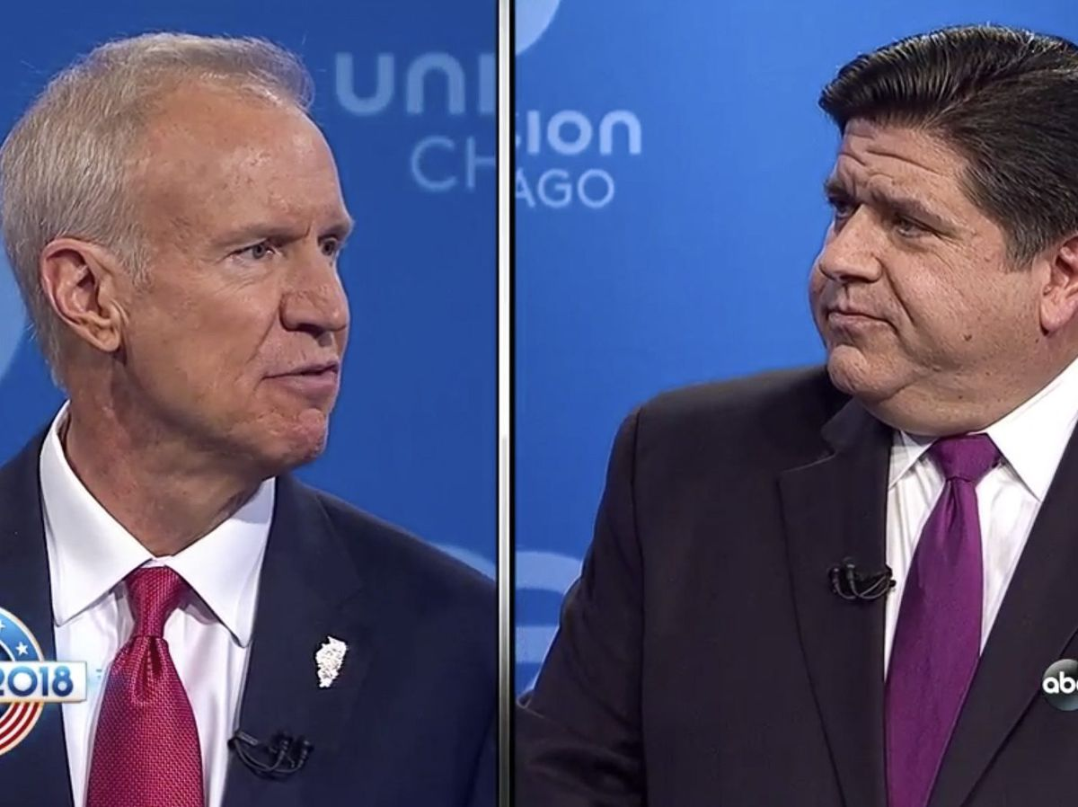 Gov. Bruce Rauner and challenger J.B. Pritzker participated in a televised debate put on by ABC 7 with the League of Women Voters. File Photo.   ABC7 Chicago