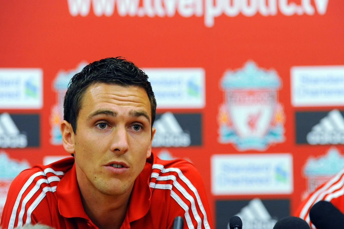 LIVERPOOL, UNITED KINGDOM - AUGUST 03: Liverpool FC present new signing Stewart Downing at a press conference at Melwood Training Ground on August 03, 2011 in Liverpool , England. (Photo by Clint Hughes/Getty Images)
