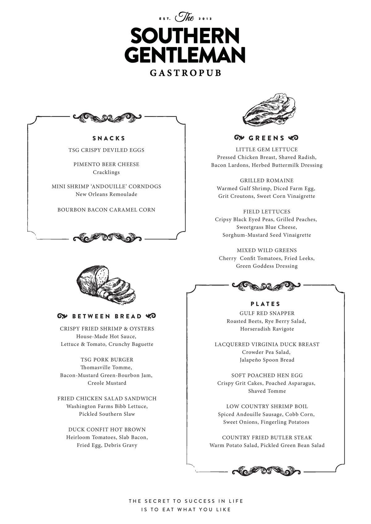 The Southern Gentleman lunch menu