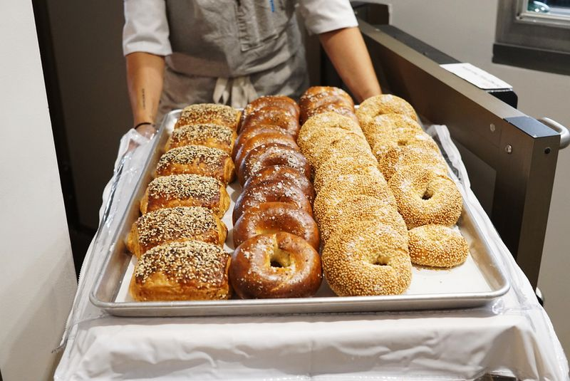Bagels and everything bagel danishes ready to display at Bon Temps restaurant