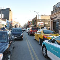 More traffic backed up on Clark during the pub crawl -