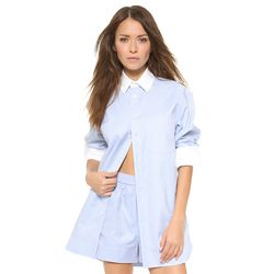 """<i>Alexander Wang romper, <a href=""""http://www.shopbop.com/all-one-long-sleeve-mens/vp/v=1/1522414066.htm?fm=search-viewall-shopbysize"""">$895</a></i><br>""""I love an updated take on a classic, and this season's crop of tailored blouses is exactly that.  There"""