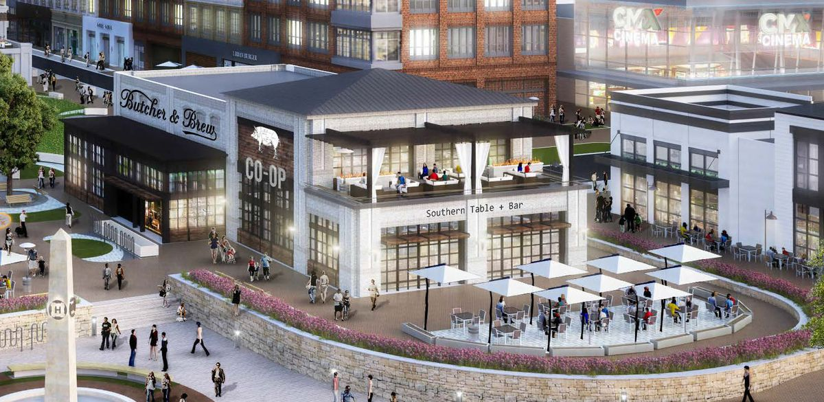 A rendering of coming-soon restaurants and bars at Halcyon.