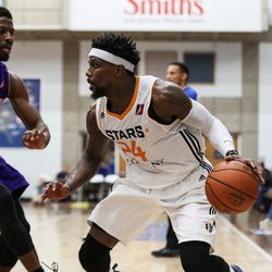 Salt Lake City Stars guard Jermaine Taylor (24) drives to the hoop during the game against the Los Angeles D-Fenders at the Lifetime Activities Center in Taylorsville on Wednesday, Feb. 08, 2017.