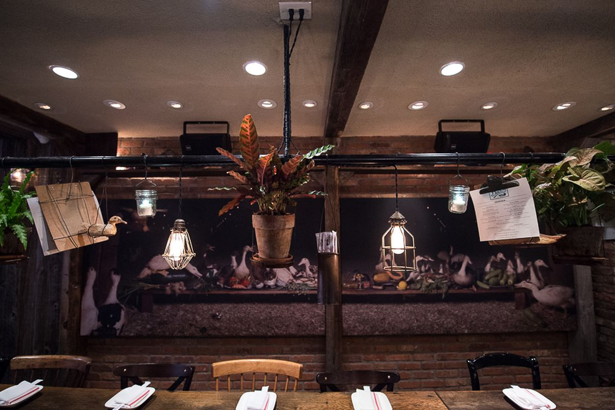 [The dining room at Decoy in the West Village]