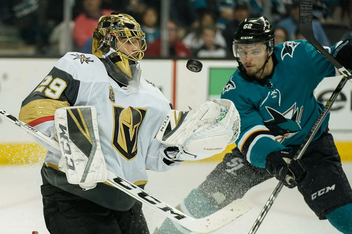 May 6, 2018; Vegas Golden Knights goaltender Marc-Andre Fleury (29) defends the puck as San Jose Sharks right wing Kevin Labanc (62) watches during the second period in game six of the second round of the 2018 Stanley Cup Playoffs at SAP Center at San Jos