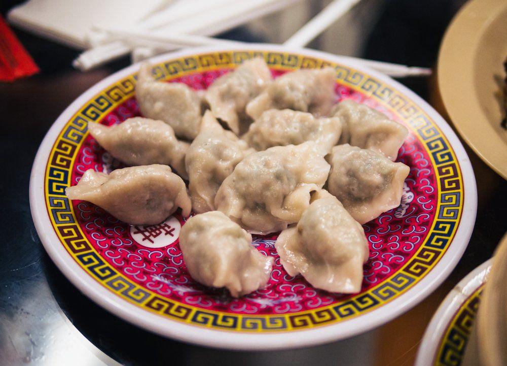 a dozen Pork and leek dumplings at Bejing Kabob in Doraville, GA