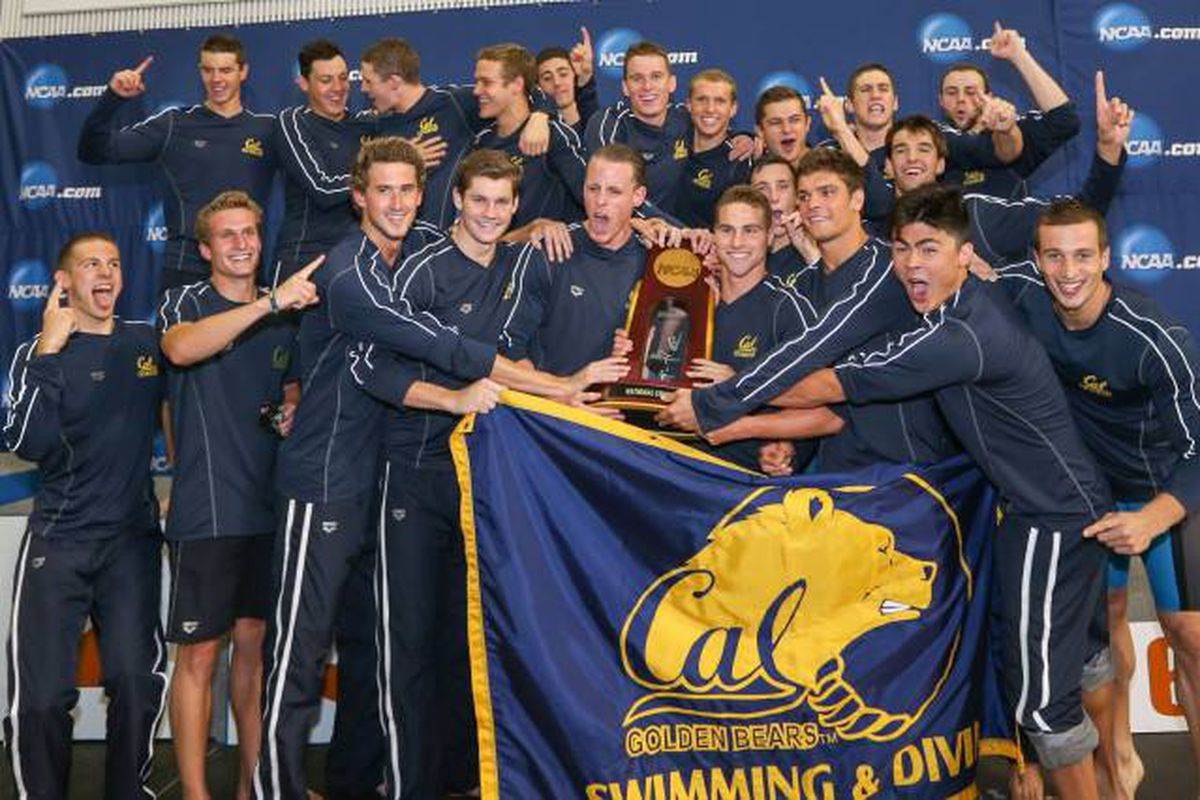 The Golden Bears with the 2014 NCAA Team Championship trophy.