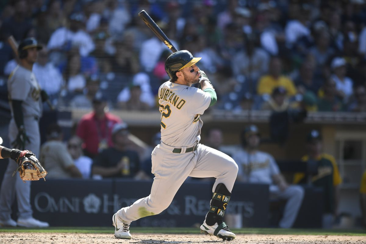 Ramon Laureano #22 of the Oakland Athletics plays during a baseball game against the San Diego Padres at Petco Park on July 28, 2021 in San Diego, California.