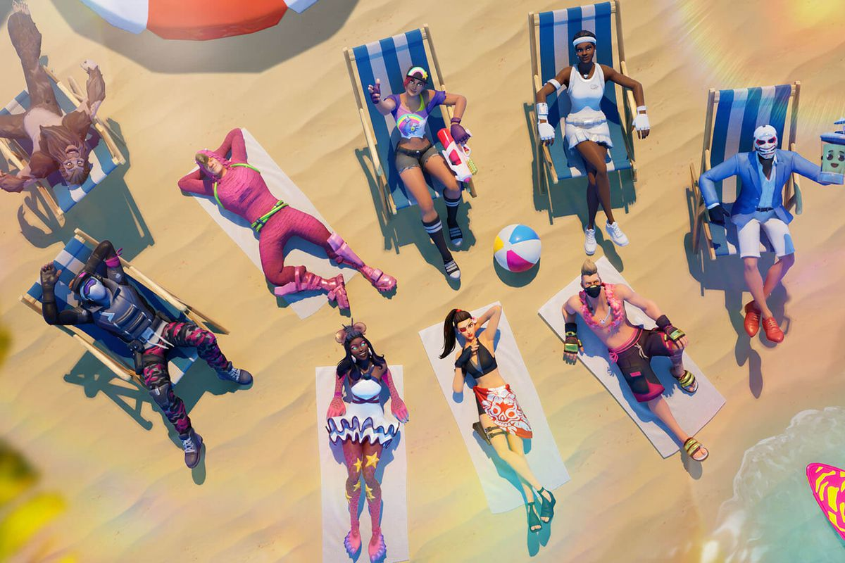 a group of Fortnite characters lounging on a beach on lawn chairs and beach towels