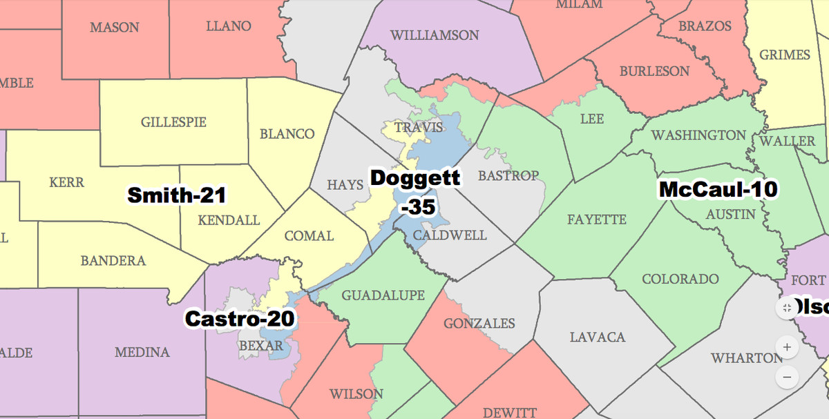 a map of the congressional districts around austin
