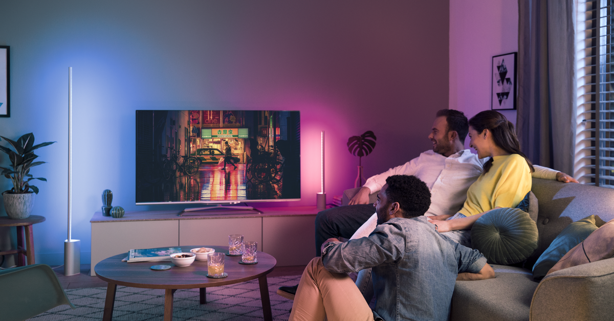 The latest Philips Hue lights project color onto the walls around your TV