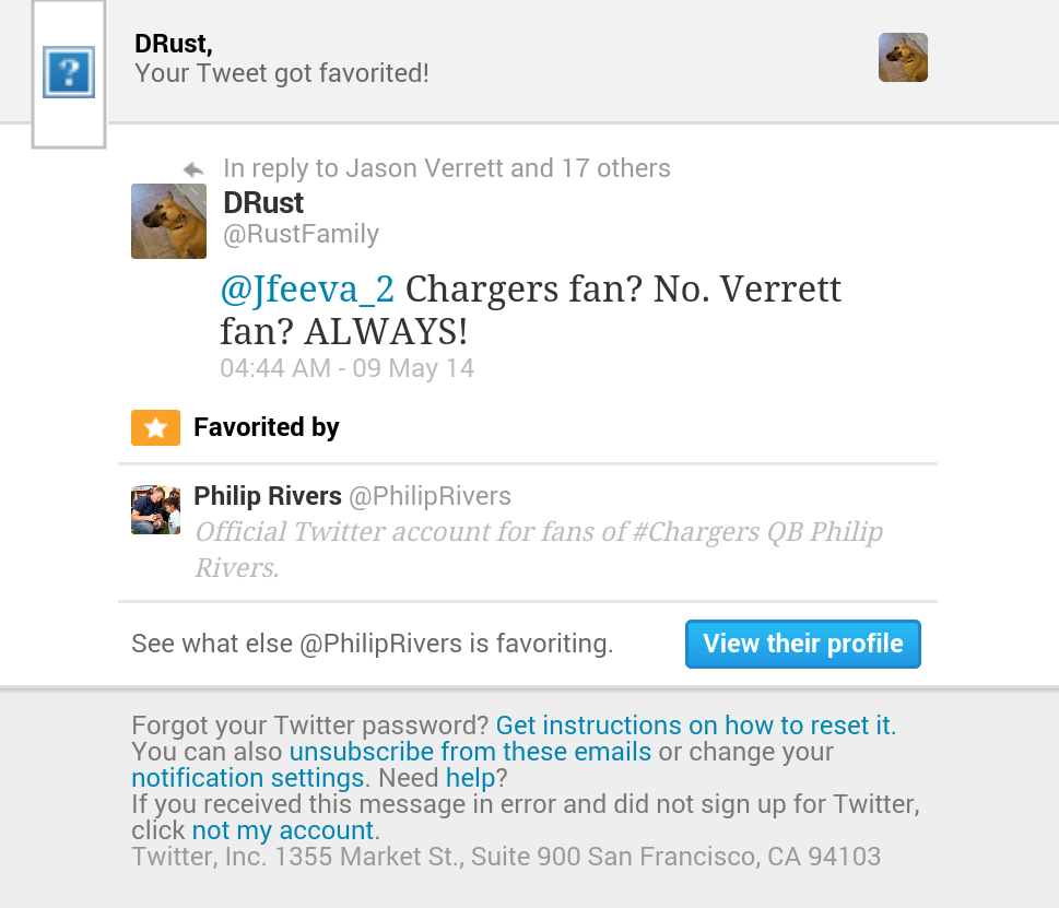 After I tweeted my support for Verrett, I got this.