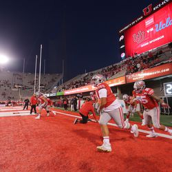 Utah players get ready to play UCLA in a college football game in Salt Lake City at Rice-Eccles Stadium on Saturday, Nov. 16, 2019.