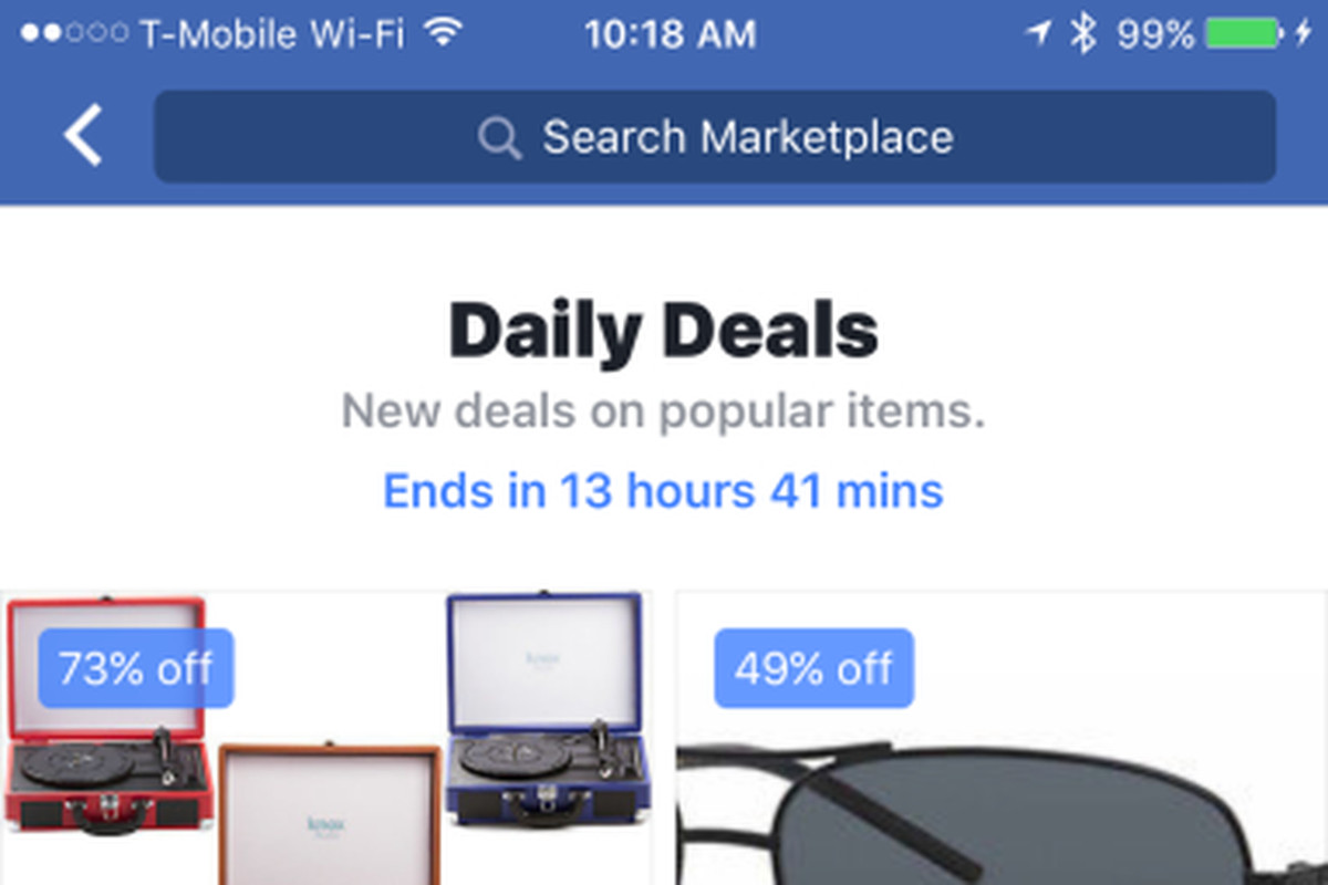 facebook tests showing ebay daily deals in marketplace the verge. Black Bedroom Furniture Sets. Home Design Ideas