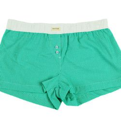 """<b>Paxton 1345</b> Miacomet Plaid Boxers, <a href=""""http://shop.paxton1345.com/collections/womens-collection/products/miacomet-green-plaid-womens-boxers"""">$39.50</a>"""